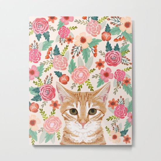 Tabby Cat florals cute spring garden kitten orange tabby cat lady funny girly cat art pet gifts  Metal Print