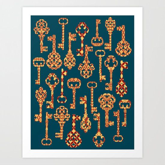Yellow and Red Skeleton Key Pattern Art Print