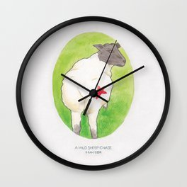 Haruki Murakami's A Wild Sheep Chase // Illustration of a Sheep with a Red Star in Watercolour Wall Clock