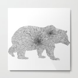 Floral Line Work Bear in Black Metal Print
