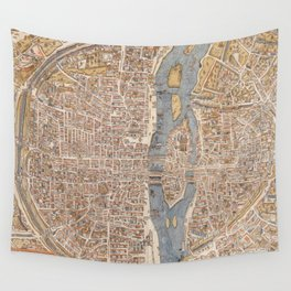 Vintage Map of Paris (1550) Wall Tapestry