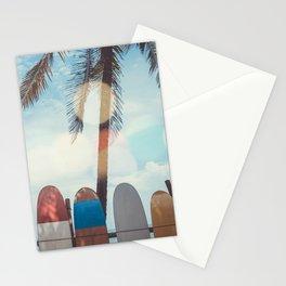 Surf Life Tropical Coastal Landscape Surfboard Scene Stationery Cards