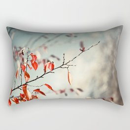 Red Teal Nature Photography, Aqua Blue Turquoise Botanical, Tree Branches Branch Rectangular Pillow
