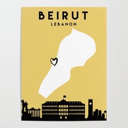 BEIRUT LEBANON LOVE CITY SILHOUETTE SKYLINE ART Poster