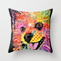 pomeranian Throw Pillows featuring Pomeranian dog by trevacristina