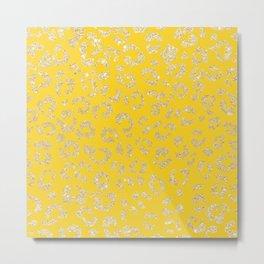 Modern faux gold glitter handdrawn leopard mustard pattern Metal Print