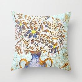 Rustic Bouquet Print Throw Pillow