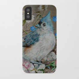 Blue Titmouse and Bee with floral still life iPhone Case