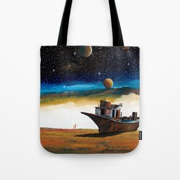 Terrible sight 3 of a spacecraft and the earth number... Aral Sea Tote Bag