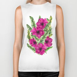 green banana palm leaves and pink flowers Biker Tank