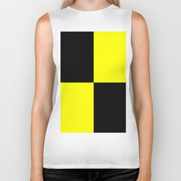 Big mosaic yellow black Biker Tank