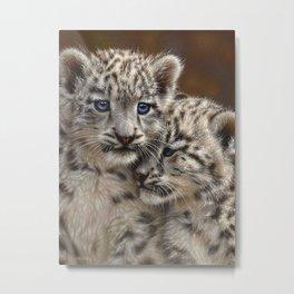 Snow Leopard Cubs - Playmates Metal Print