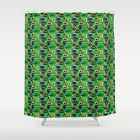 sesame street Shower Curtains featuring Sesame Street Pattern by MOONGUTS (Kyle Coughlin)