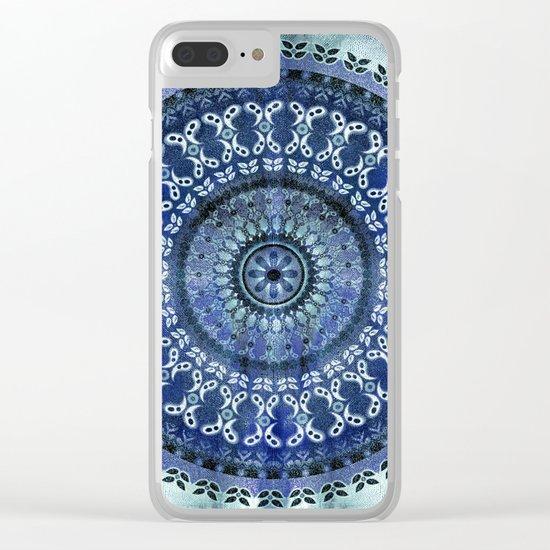 Vintage Blue Wash Mandala Clear iPhone Case