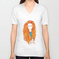 be brave V-neck T-shirts featuring Brave by FeliciaR