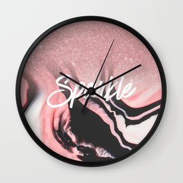 Sparkle Pink Black White Glitter Painted Marble Wall Clock