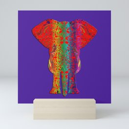 Rainbow Ganesha (Purple Background) Mini Art Print
