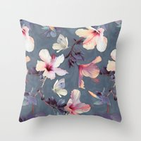 purple Throw Pillows featuring Butterflies and Hibiscus Flowers - a painted pattern by micklyn