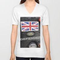 union jack V-neck T-shirts featuring Land Rover Union Jack by Premium