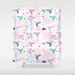Hummingbird and flower pastel petal pattern Shower Curtain