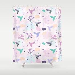 Hummingbird and flower pastel petal pattern Shower Curtain