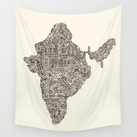 india Wall Tapestries featuring India by Mariana Beldi