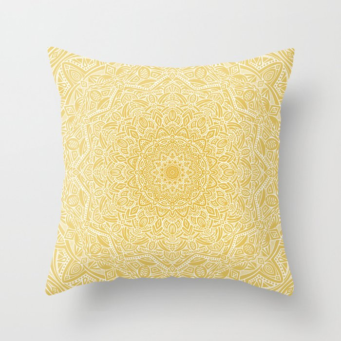 Most Detailed Mandala! Yellow Golden Color Intricate Detail Ethnic Mandalas Zentangle Maze Pattern Throw Pillow