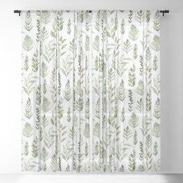 Watercolor leaves Sheer Curtain