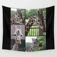 giraffes Wall Tapestries featuring Giraffes  by grapeloverarts