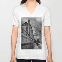 regina mills V-neck T-shirts featuring Yorkshire Mills by Sandra Cockayne Photography