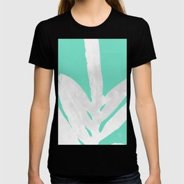 Green Fern on Ice Mint Green Inverted Silver T-shirt