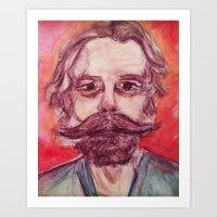 grateful dead Art Prints featuring Bob Weir Watercolor Portrait Grateful Dead by Acorn