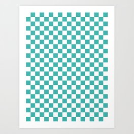 Small Checkered - White and Verdigris Art Print