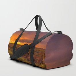 Sunset on the Plains - Sun Illuminates Sky After Stormy Day Duffle Bag