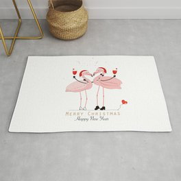 Flamingos. Wine glass with a loving couple Rug