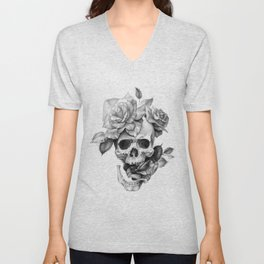 Black and white Skull and Roses Unisex V-Neck