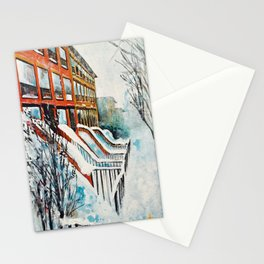 Brooklyn New York In Snow Storm Stationery Cards