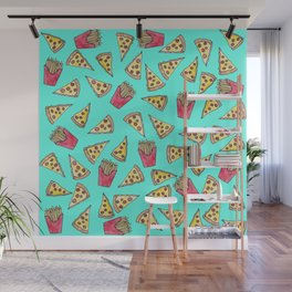 Pepperoni Pizza French Fries Foodie Watercolor Pattern Wall Mural