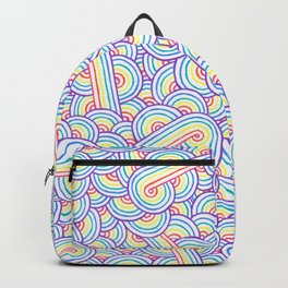Rainbow and white swirls doodles Backpack