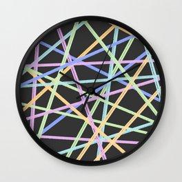 Neon Diagonals Wall Clock