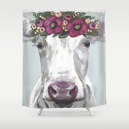 Flower Crown Cow, Cute Cow Art, Farm Animal Painting Shower Curtain