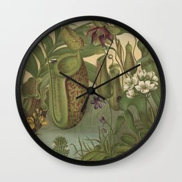 Antique Carnivorous Plants Lithograph Wall Clock