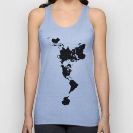 Dymaxion World Map (Fuller Projection Map) - Minimalist Black on White Unisex Tank Top
