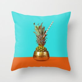 Pineapple with eco straw in golden vase. Throw Pillow