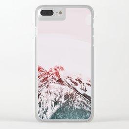 Mountains, Pink, Pastel, Modern art, Art, Minimal, Wall art Art Print Clear iPhone Case