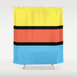 Diversions #1 in Yellow, Orange & Powder Blue Shower Curtain