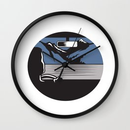 Driver Looking Mountain Pass Oval Woodcut Wall Clock