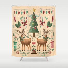 Vintage Holiday Christmas Jubilee Shower Curtain