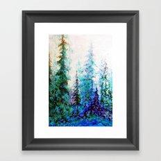 Mountain Landscape Pines In Blue-Greens-Purple Framed Art Print