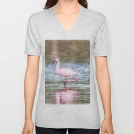 Lesser Flamingo Watercolor Unisex V-Neck